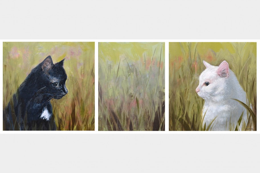 Perfect Friends - two cats in grass