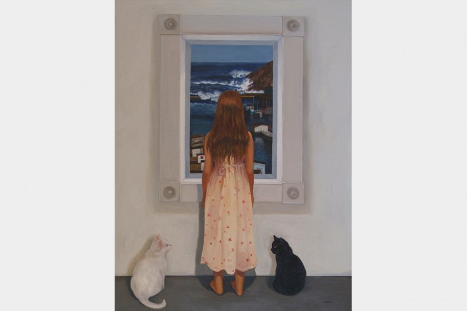 Young girl looking out a window to the sea, with a black and white cat standing beside her.
