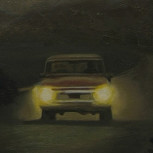 Night Rider - a truck on foggy moon night