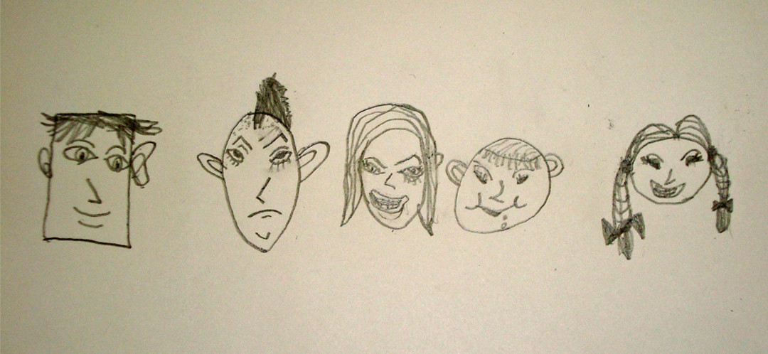 A few sketches of faces done by one of Ginok's art students.