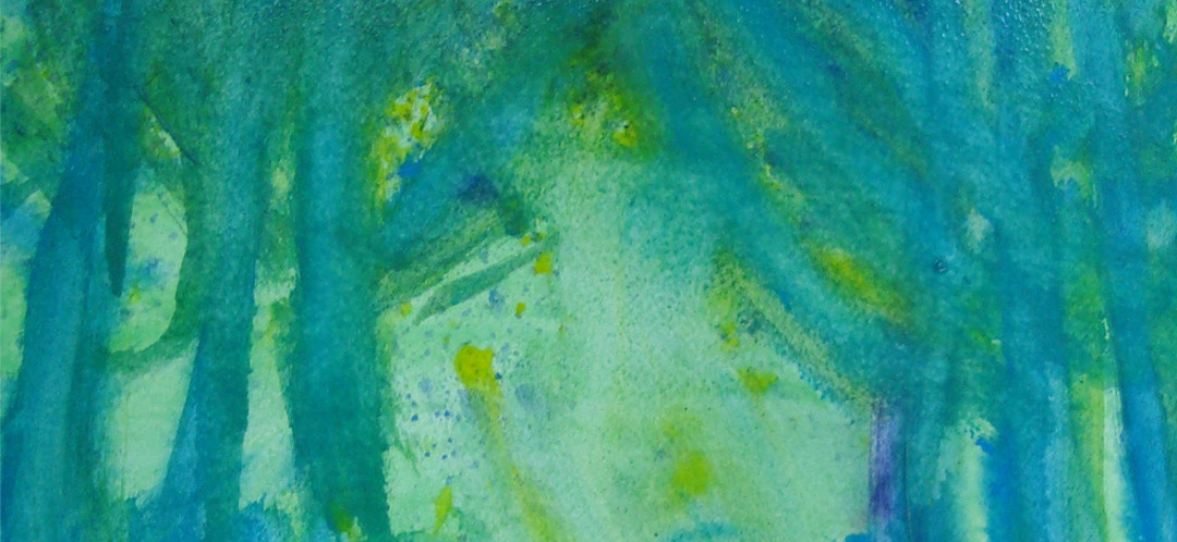 A green tree painting by one of Ginok's students.