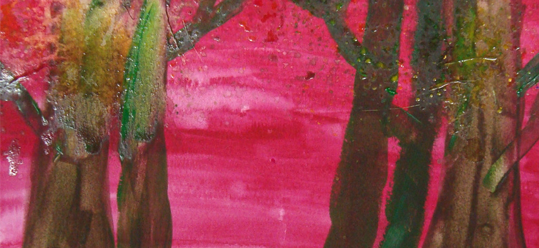 A pink painting of trees by one of Ginok's art students.