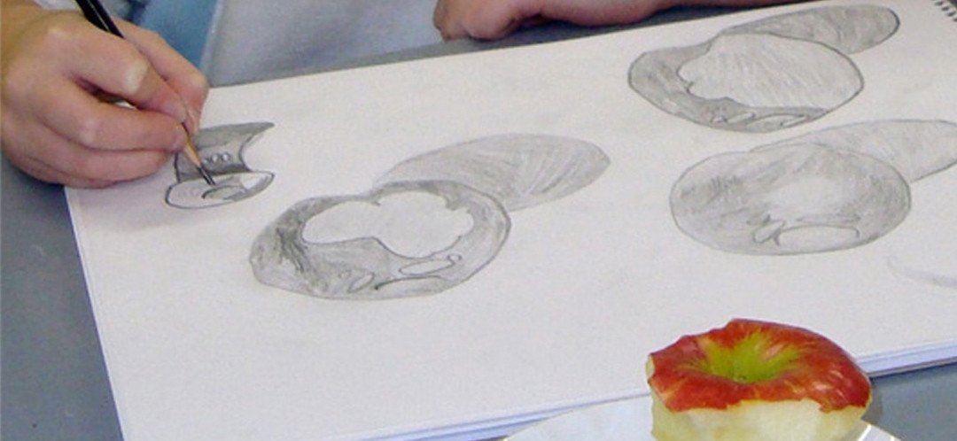A student drawing a life drawing of an apple during and art class.
