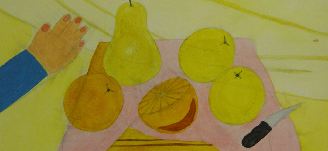 A drawing of oranges, lemons and a pear by one of Ginok's students.