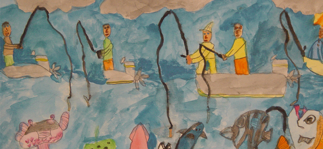 A painting of a bunch of people fishing in ships done by one of Ginok's art students.